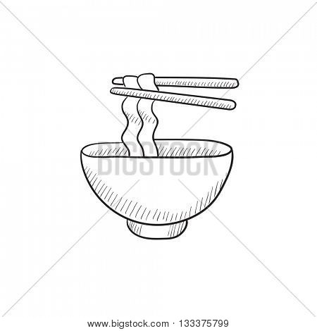 Bowl of noodles with pair chopsticks vector sketch icon isolated on background. Hand drawn Bowl of noodles with pair chopsticks icon. Bowl of noodles sketch icon for infographic, website or app.