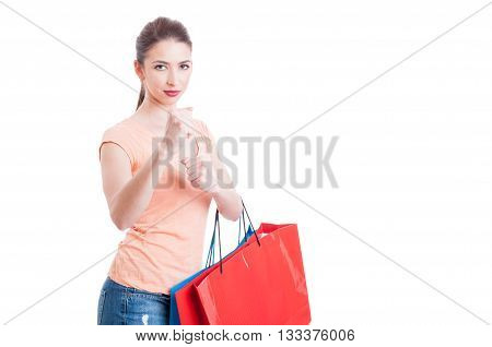 Woman at shopping being mad in fighting position isolated on white background with copy space area poster