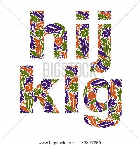 Beautiful Floral Font, Decorative Letters With Vintage Pattern. G, H, I, J, K, L.
