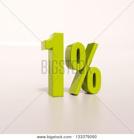 3d render: green 1 percent, percentage discount sign on white, 1%