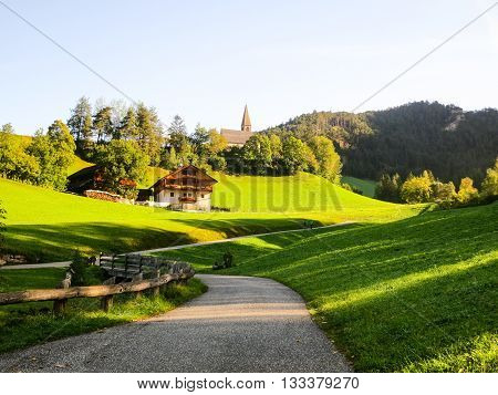 Pathway in Santa Maddalena, Autumn in Sunset, South Tyrol (Italy)