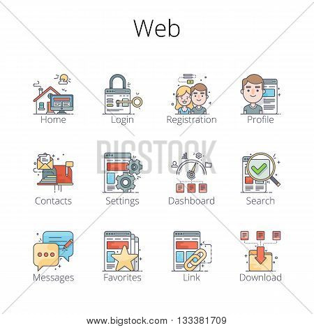 Web Outline Icons. Pixel-perfect layered vector illustration.