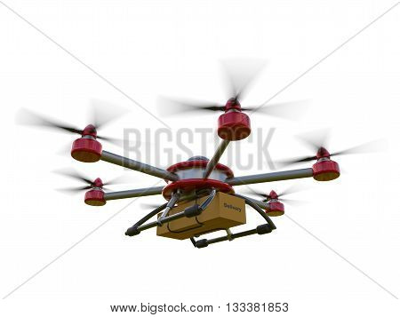 Red and gray hexacopter isolated on a white background. Shipping to home. Flying courier. 3d illustration poster