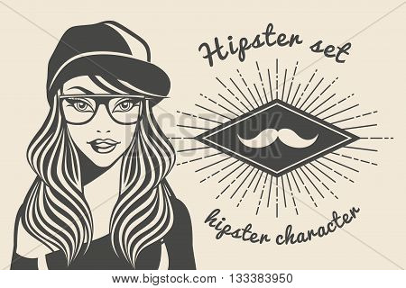 Vintage background beautiful woman in a cap hipster hipster style Sunburst with text. Vector illustration.