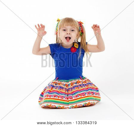 Funny Little Blond Child With Two Tails Imitating Kitten On White Background