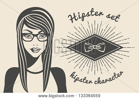 Vintage background beautiful woman in a hat hipster and stylish clothes hipster style Sunburst text. Vector illustration