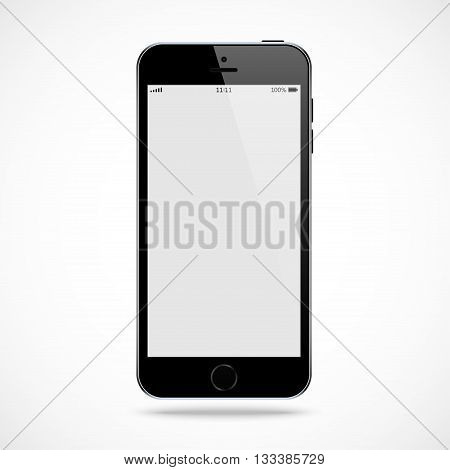 smartphone black color with blank touch screen isolated on the grey background. stock vector illustration eps10