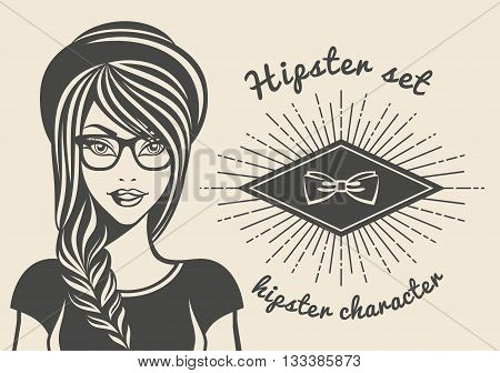 Vintage background beautiful woman in a hat hipster hipster style Sunburst text. Vector illustration.