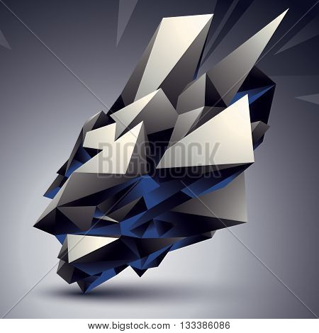 Spatial vector monochrome digital object isolated 3d technology figure with geometric elements.