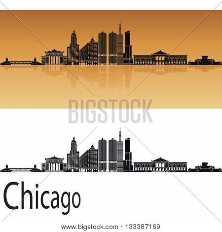 Chicago skyline in orange background in editable vector file
