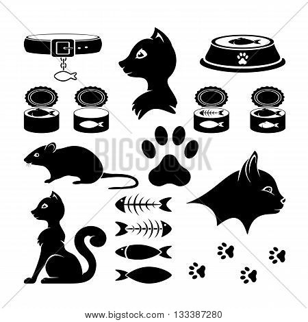Black Cat icons isolated on white background, set of icons on a cat theme, illustration.