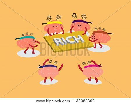 brains cartoon character vector illustration snatching for rich board by pulling out with both hands and others are runing to snatch (conceptual image about each person try to snatch to win and rich with stress)