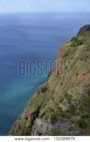 View down to sea from Cabo Girao in Madeira Portugal. (one of the highest cliffs in the world 590 metres)