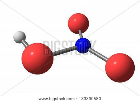 Nitric acid - HNO3 - also known as aqua fortis and spirit of niter is a highly corrosive strong mineral acid. 3d illustration poster