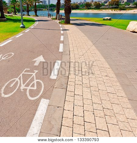Bicycle Track along the Yarkon river in Tel Aviv Israel