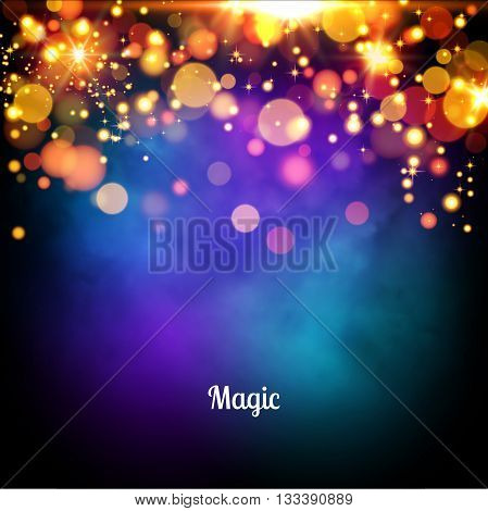 Magic background design. Vector magic lights background.
