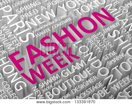 Fashion news word cloud with the associated words 3D illustration. poster