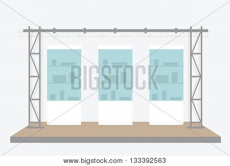 Exhibition scene. Vector illustration isolated on grey background