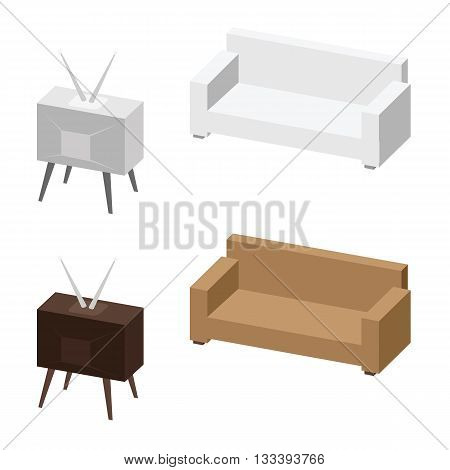 TV and sofa. Relax concept. Vector illustration