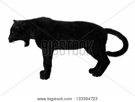 3D Rendering Black Panther On White
