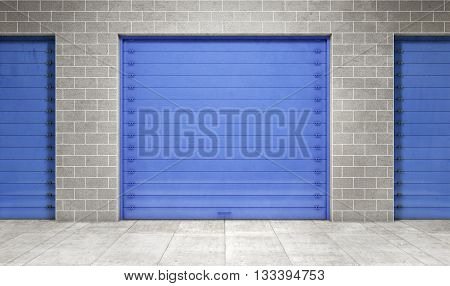 Self storage unit door closed. 3d rendering