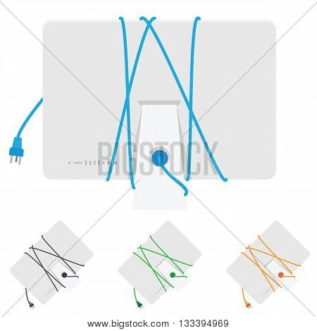 Computer with cord. Set of vector objects isolated on white background
