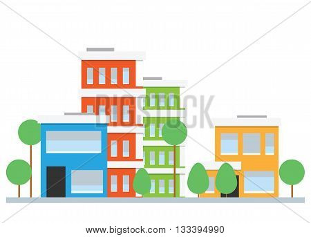 Flat design city street. Set of vector houses