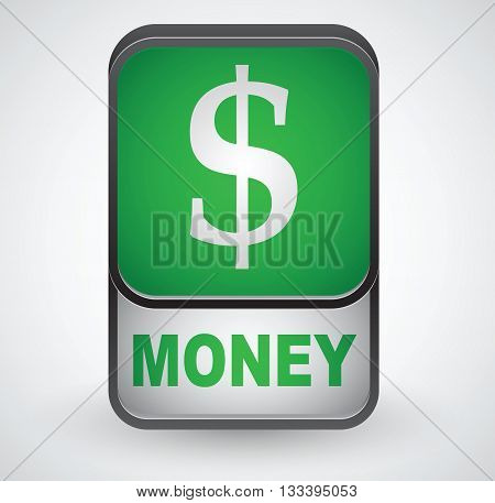 Money icon. Vector sign on grey background
