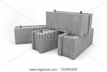 Concrete blocks for construction isolated on white with clipping path. 3d rendering
