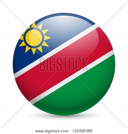 Flag of Namibia as round glossy icon. Button with Namibian flag
