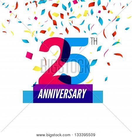 Anniversary design. 25th icon anniversary. Colorful overlapping design with colorful confetti.