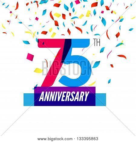 Anniversary design. 75th icon anniversary. Colorful overlapping design with colorful confetti.
