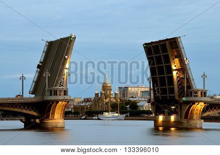 Russia.Saint-Petersburg.Navigation time.At night the bridges are raised.Ships can freely sail