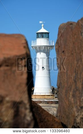 Breakwater Lighthouse at Wollongong between two rocks
