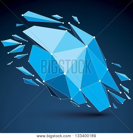 Vector dimensional wireframe luminescent object with blue connected lines spherical demolished shape with refractions and wreckage. 3d mesh global technology element broken into pieces.