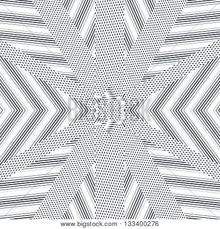 Black And White Moire Lines, Striped  Psychedelic Background.  Op Art Style Vector Contrast Pattern.