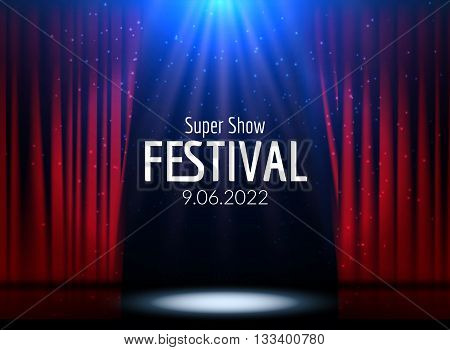 Vector Festive design with lights. Poster for concert, party, theater, dance template. Stage with Curtains. Poster Template with Lights
