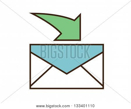 Receive mail icon. Vector e-mail button isolated on white background