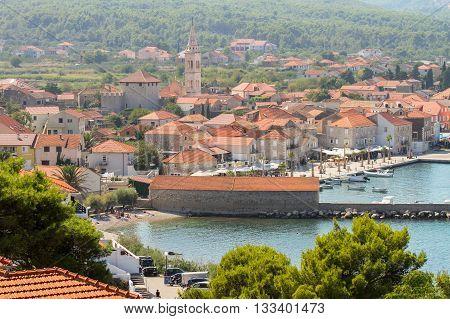 Panoramic view of Jelsa harbor Hvar Croatia