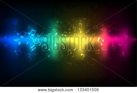 Abstract audio sound wave equalizer. Music sound concept colorful dark glowing template