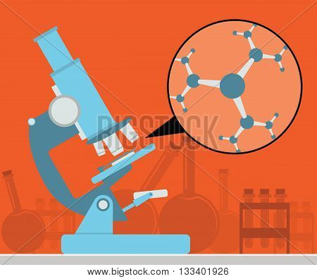 Microscope with a molecule. Science vector illustration