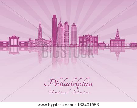 Philadelphia skyline in purple radiant orchid in editable vector file