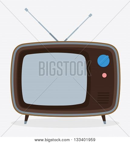 Retro old television with antenna. Vector illustration