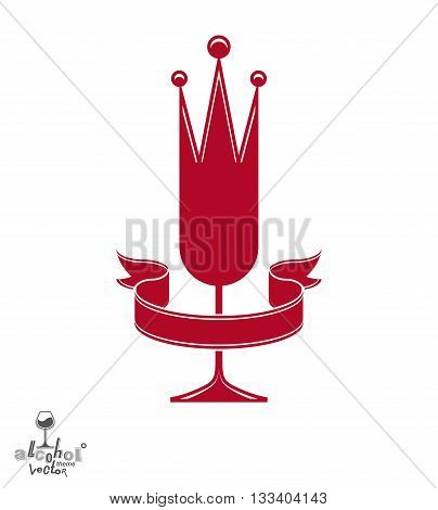 Champagne glass with beautiful royal crown sophisticated goblet full with sparkling wine.