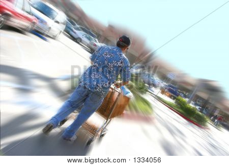 Man And Shopping Cart With Fast Motion