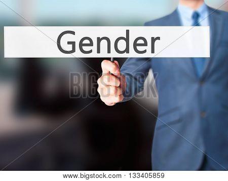 Gender - Businessman Hand Holding Sign