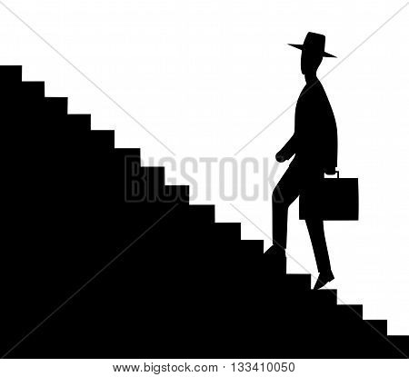 This is an illustration of man getting upstairs