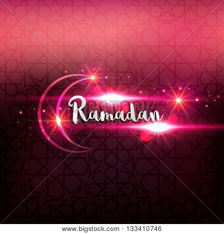 Ramadan arabic islamic lettering dark glowing background. Arabian greeting festive card.