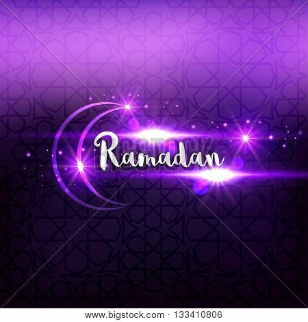 Ramadan arabic islamic lettering dark glowing background. Arabian greeting festive card.