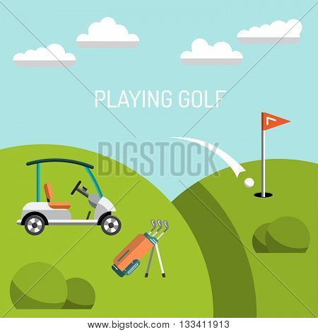 Elements for a game of Golf. Golf course. the game of Golf is painted in flat style